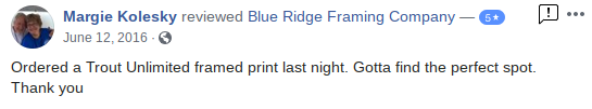 Blue Ridge Framing Company Georgia Picture Custom Customer Review 5