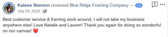 Blue Ridge Framing Company Georgia Picture Custom Customer Review 6
