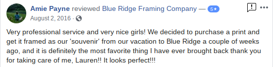 Blue Ridge Framing Company Georgia Picture Custom Customer Review 9
